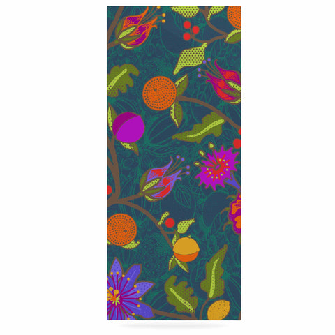 "Laura Nicholson ""Flora Exotica"" Teal Floral Luxe Rectangle Panel - KESS InHouse  - 1"