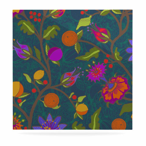 "Laura Nicholson ""Flora Exotica"" Teal Floral Luxe Square Panel - KESS InHouse  - 1"