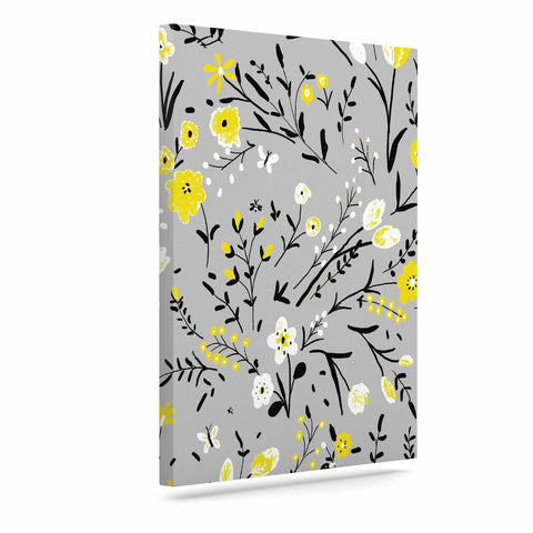 "Laura Nicholson ""Blackbirds On Gray"" Gray Yellow Canvas Art - KESS InHouse  - 1"
