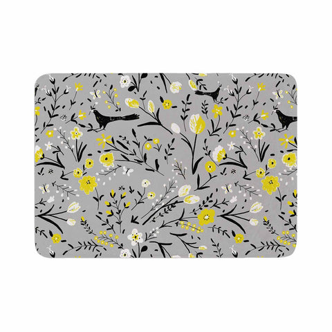 "Laura Nicholson ""Blackbirds On Gray"" Gray Yellow Memory Foam Bath Mat - KESS InHouse"
