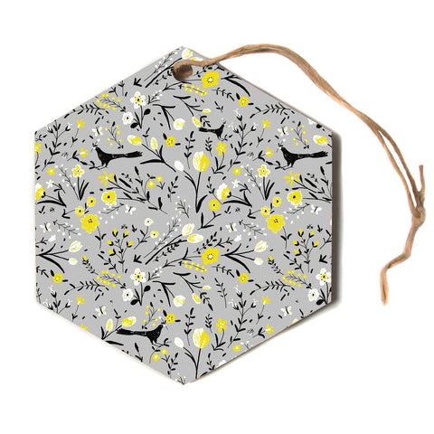 "Laura Nicholson ""blackbirds on gray"" Gray Yellow Hexagon Holiday Ornament"