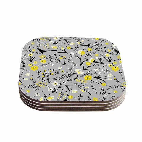"Laura Nicholson ""Blackbirds On Gray"" Gray Yellow Coasters (Set of 4)"