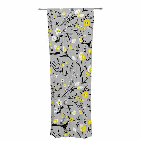 "Laura Nicholson ""Blackbirds On Gray"" Gray Yellow Decorative Sheer Curtain - KESS InHouse  - 1"