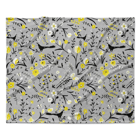 "Laura Nicholson ""Blackbirds On Gray"" Gray Yellow Fleece Throw Blanket"