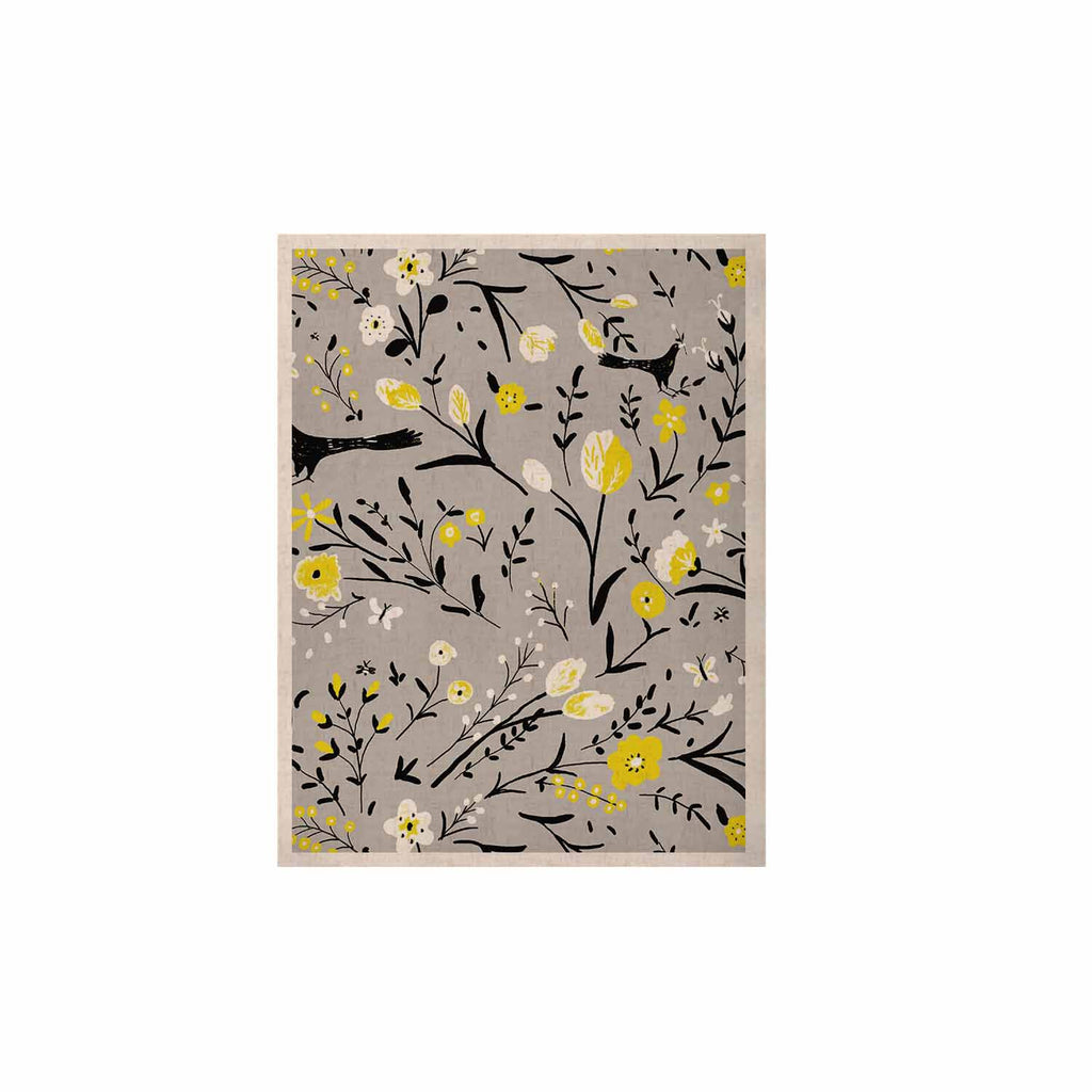 "Laura Nicholson ""Blackbirds On Gray"" Gray Yellow KESS Naturals Canvas (Frame not Included) - KESS InHouse  - 1"