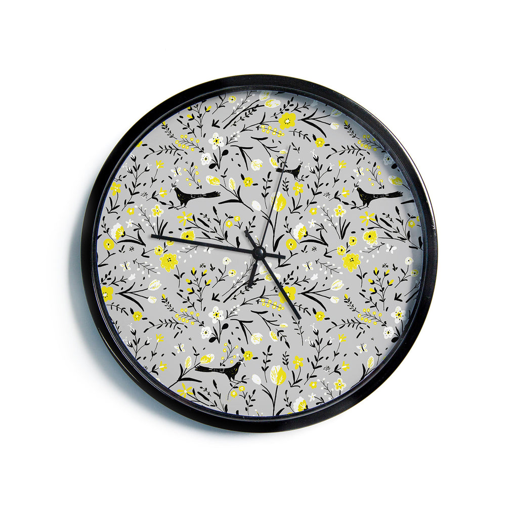 "Laura Nicholson ""Blackbirds On Gray"" Gray Yellow Modern Wall Clock"