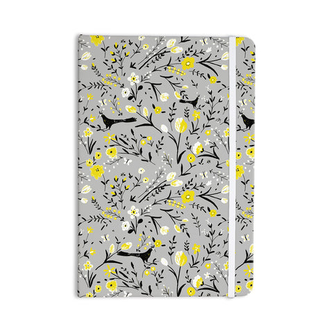 "Laura Nicholson ""Blackbirds On Gray"" Gray Yellow Everything Notebook - KESS InHouse  - 1"