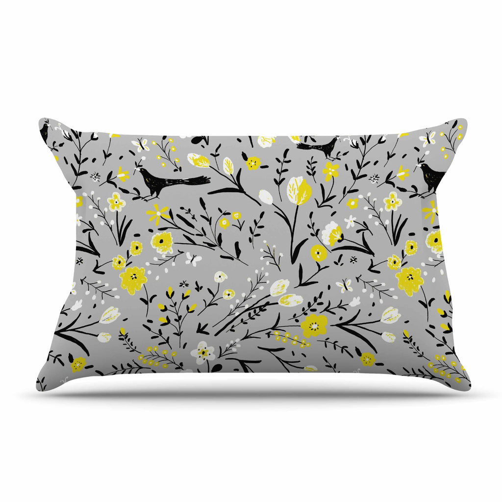 "Laura Nicholson ""Blackbirds On Gray"" Gray Yellow Pillow Sham - KESS InHouse"
