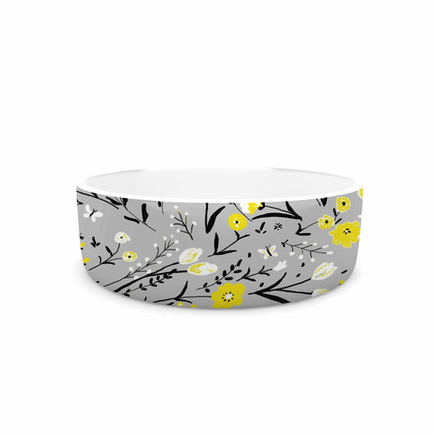 "Laura Nicholson ""Blackbirds On Gray"" Gray Yellow Pet Bowl - KESS InHouse"