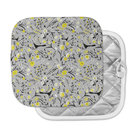"Laura Nicholson ""Blackbirds On Gray"" Gray Yellow Pot Holder"