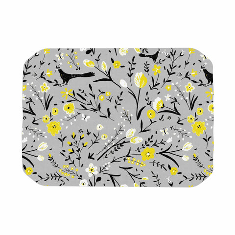 "Laura Nicholson ""Blackbirds On Gray"" Gray Yellow Place Mat - KESS InHouse"