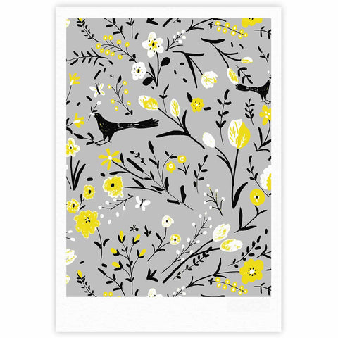 "Laura Nicholson ""Blackbirds On Gray"" Gray Yellow Fine Art Gallery Print - KESS InHouse"