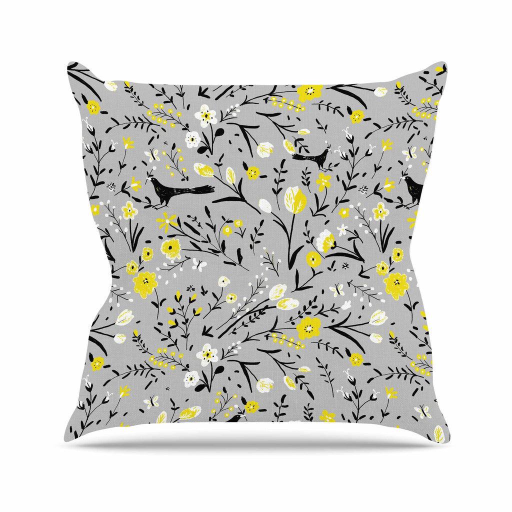 "Laura Nicholson ""Blackbirds On Gray"" Gray Yellow Outdoor Throw Pillow - KESS InHouse  - 1"