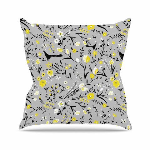 "Laura Nicholson ""Blackbirds On Gray"" Gray Yellow Throw Pillow - KESS InHouse  - 1"