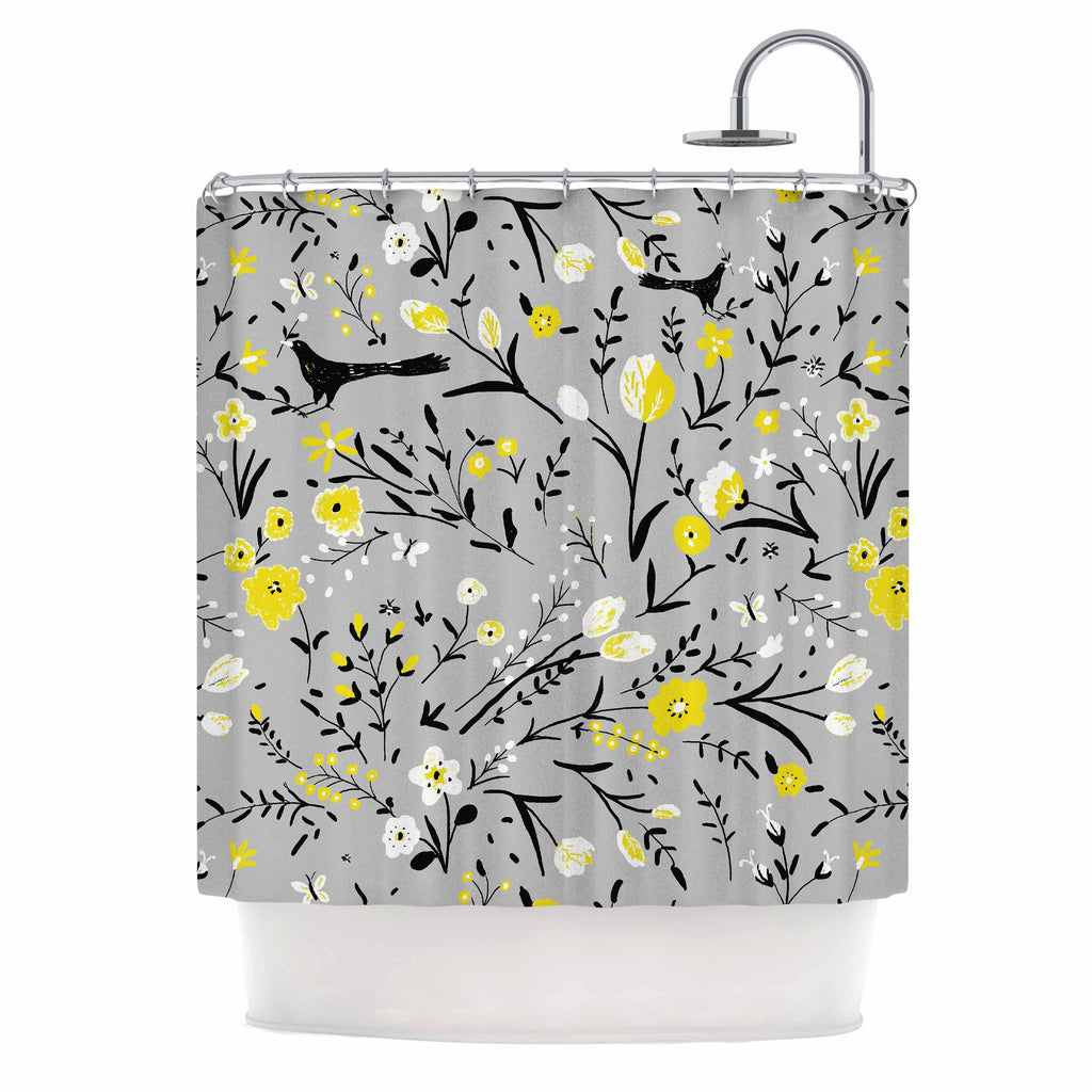 "Laura Nicholson ""Blackbirds On Gray"" Gray Yellow Shower Curtain - KESS InHouse"