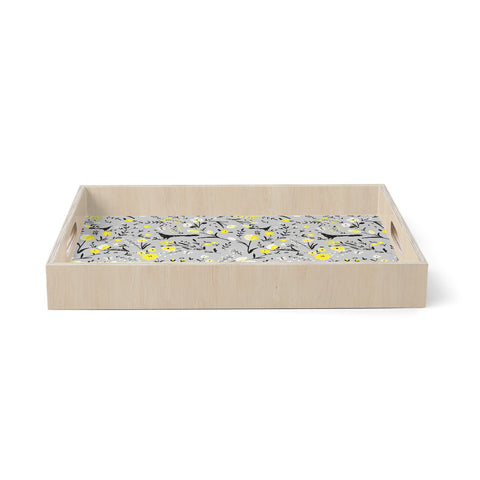 "Laura foster Nicholson ""blackbirds on gray"" Gray Yellow Birchwood Tray"