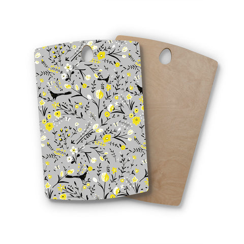 "Laura Nicholson ""Blackbirds On Gray"" Gray Yellow Rectangle Wooden Cutting Board"