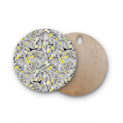 "Laura Nicholson ""Blackbirds On Gray"" Gray Yellow Round Wooden Cutting Board"