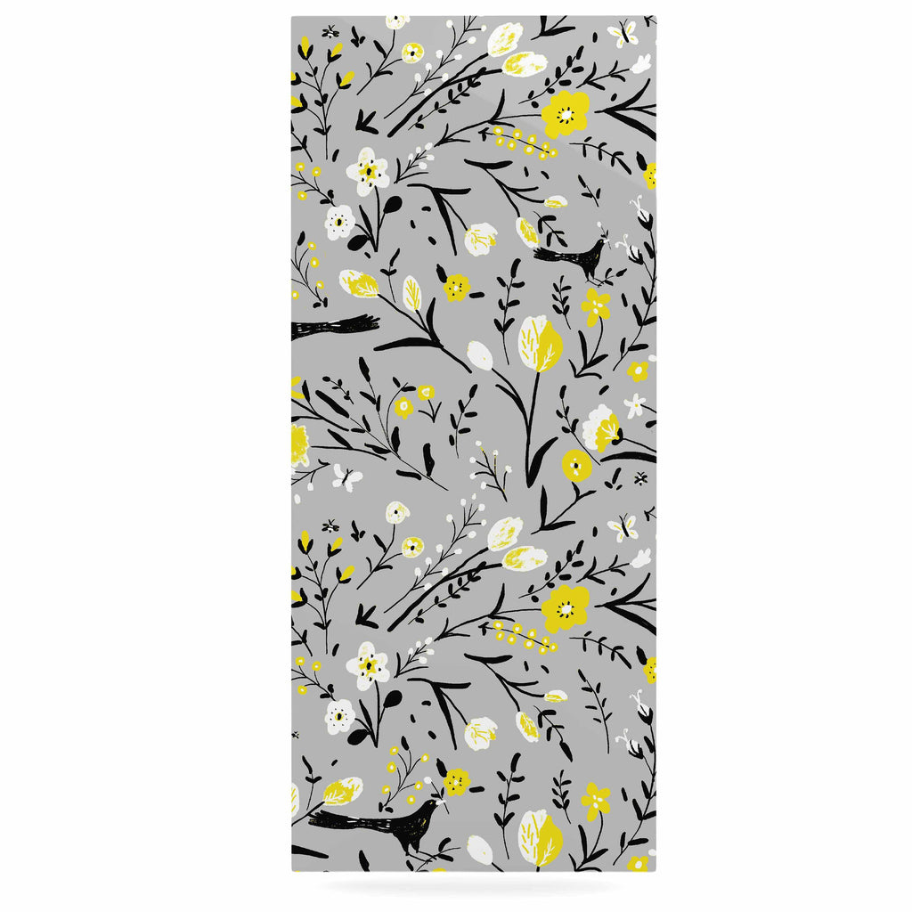 "Laura Nicholson ""Blackbirds On Gray"" Gray Yellow Luxe Rectangle Panel - KESS InHouse  - 1"