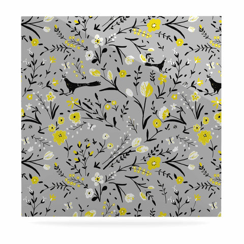 "Laura Nicholson ""Blackbirds On Gray"" Gray Yellow Luxe Square Panel - KESS InHouse  - 1"