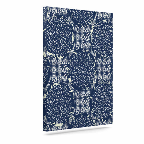 "Laura Nicholson ""Indigo Lattice"" Blue Pattern Canvas Art - KESS InHouse  - 1"
