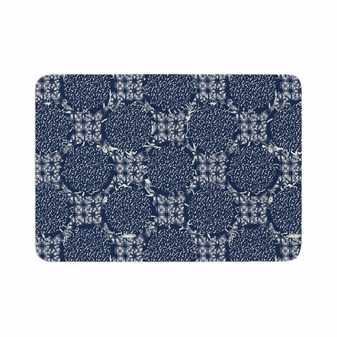 "Laura Nicholson ""Indigo Lattice"" Blue Pattern Memory Foam Bath Mat - KESS InHouse"