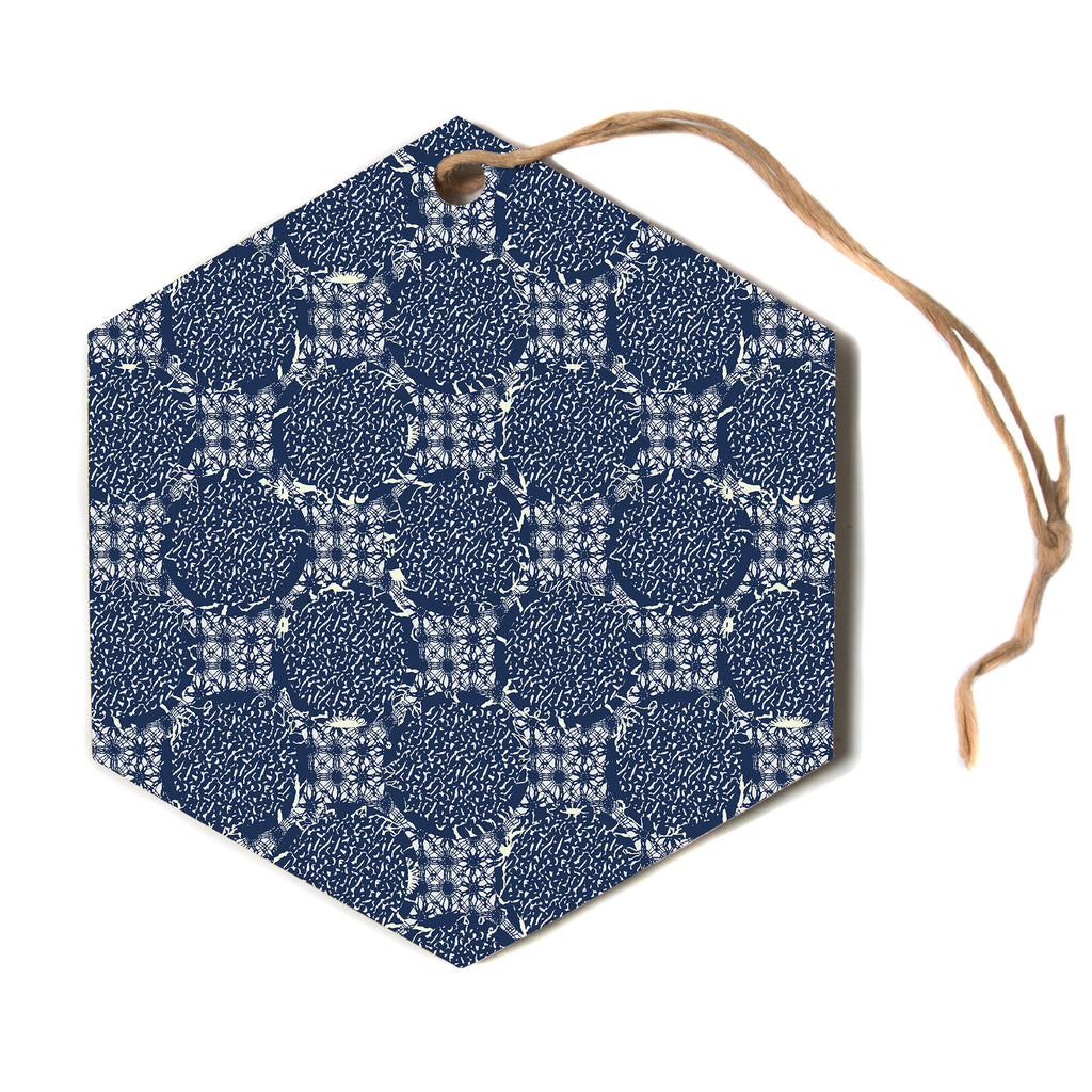 "Laura Nicholson ""indigo lattice"" Blue Pattern Hexagon Holiday Ornament"