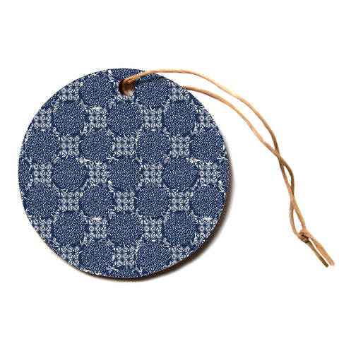"Laura Nicholson ""indigo lattice"" Blue Pattern Circle Holiday Ornament"