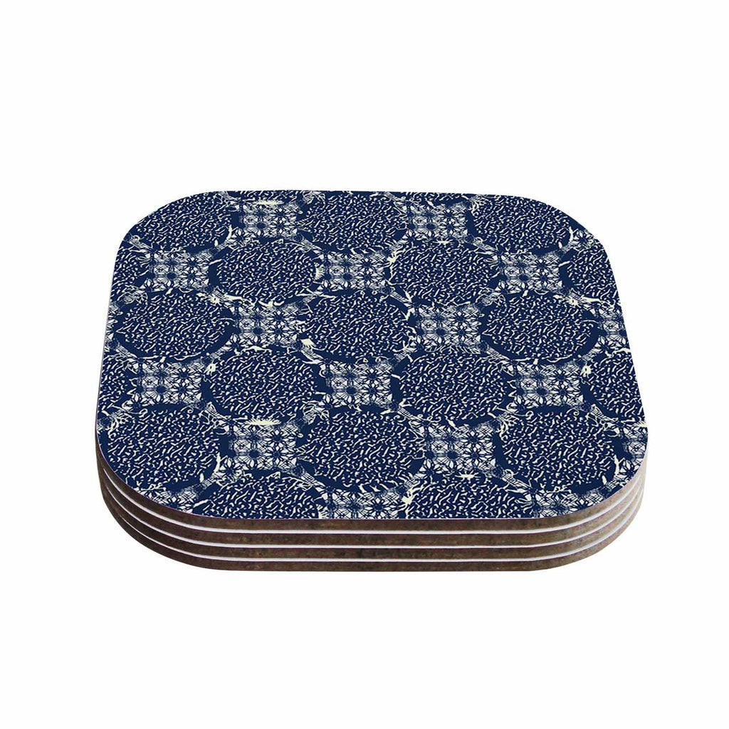 "Laura Nicholson ""Indigo Lattice"" Blue Pattern Coasters (Set of 4)"