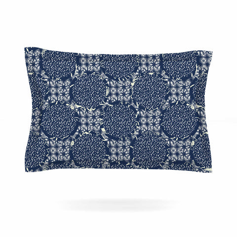 "Laura Nicholson ""Indigo Lattice"" Blue Pattern Pillow Sham - KESS InHouse  - 1"