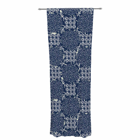 "Laura Nicholson ""Indigo Lattice"" Blue Pattern Decorative Sheer Curtain - KESS InHouse  - 1"