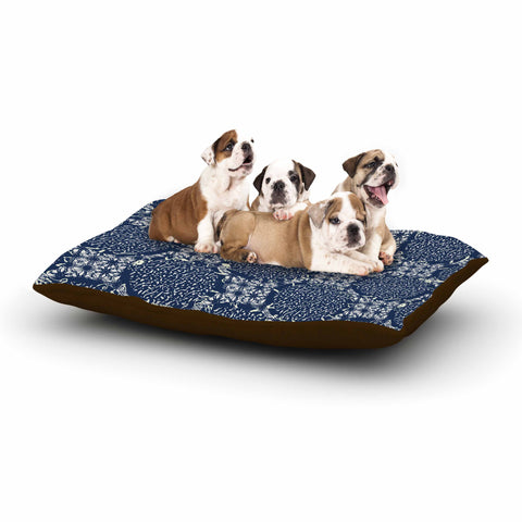 "Laura Nicholson ""Indigo Lattice"" Blue Pattern Dog Bed - KESS InHouse  - 1"