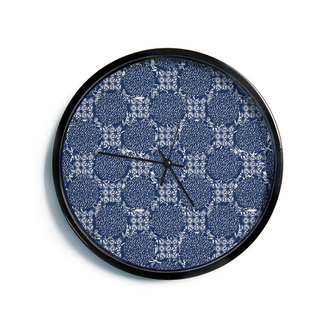 "Laura Nicholson ""Indigo Lattice"" Blue Pattern Modern Wall Clock"