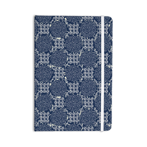 "Laura Nicholson ""Indigo Lattice"" Blue Pattern Everything Notebook - KESS InHouse  - 1"