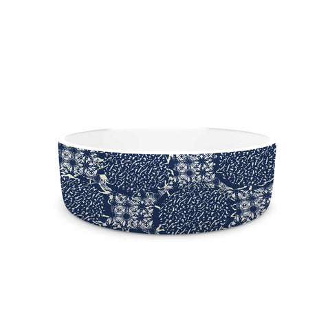 "Laura Nicholson ""Indigo Lattice"" Blue Pattern Pet Bowl - KESS InHouse"