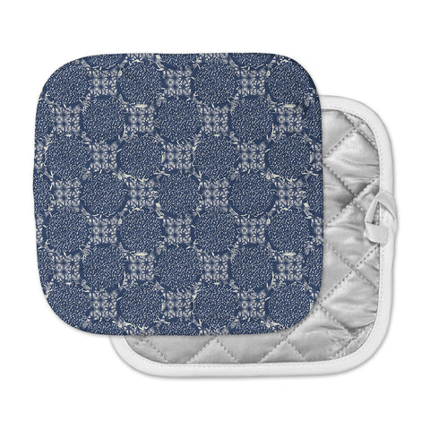 "Laura Nicholson ""Indigo Lattice"" Blue Pattern Pot Holder"