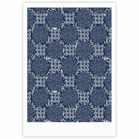 "Laura Nicholson ""Indigo Lattice"" Blue Pattern Fine Art Gallery Print - KESS InHouse"