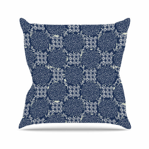 "Laura Nicholson ""Indigo Lattice"" Blue Pattern Outdoor Throw Pillow - KESS InHouse  - 1"
