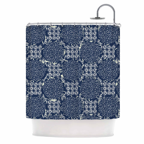 "Laura Nicholson ""Indigo Lattice"" Blue Pattern Shower Curtain - KESS InHouse"