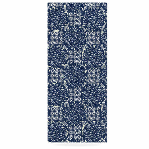 "Laura Nicholson ""Indigo Lattice"" Blue Pattern Luxe Rectangle Panel - KESS InHouse  - 1"