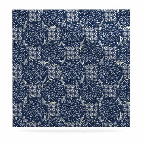 "Laura Nicholson ""Indigo Lattice"" Blue Pattern Luxe Square Panel - KESS InHouse  - 1"