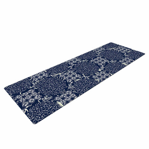 "Laura Nicholson ""Indigo Lattice"" Blue Pattern Yoga Mat - KESS InHouse  - 1"
