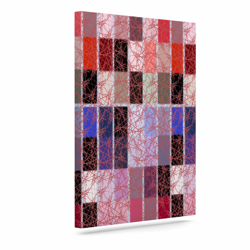 "Laura Nicholson ""Ruby Tiles"" Pink Red Canvas Art - KESS InHouse  - 1"