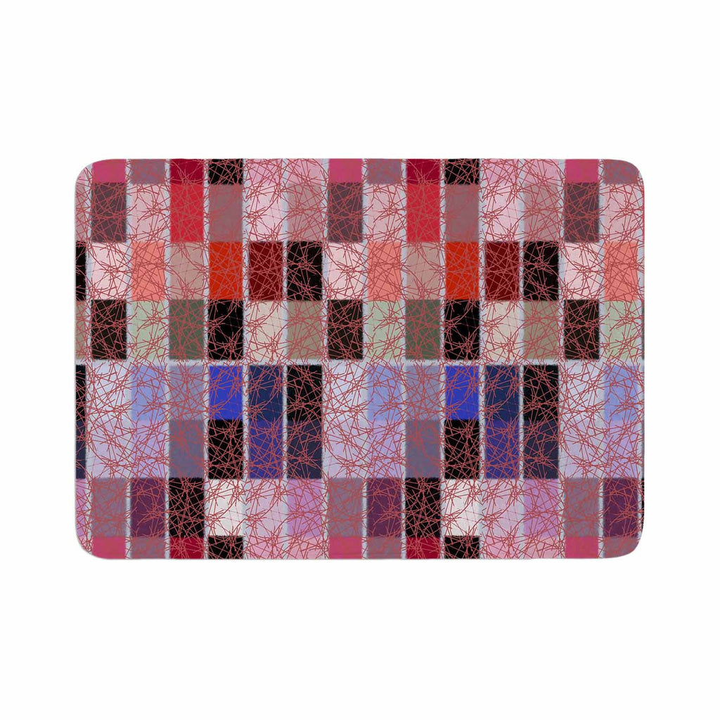 "Laura Nicholson ""Ruby Tiles"" Pink Red Memory Foam Bath Mat - KESS InHouse"