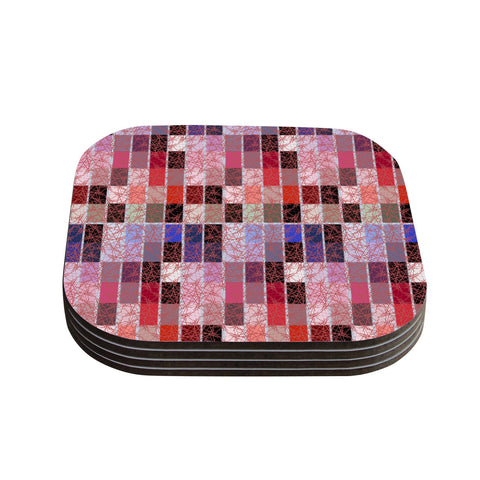 "Laura Nicholson ""Ruby Tiles"" Pink Red Coasters (Set of 4)"