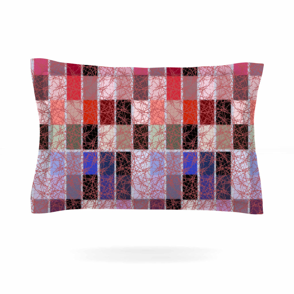 "Laura Nicholson ""Ruby Tiles"" Pink Red Pillow Sham - KESS InHouse  - 1"