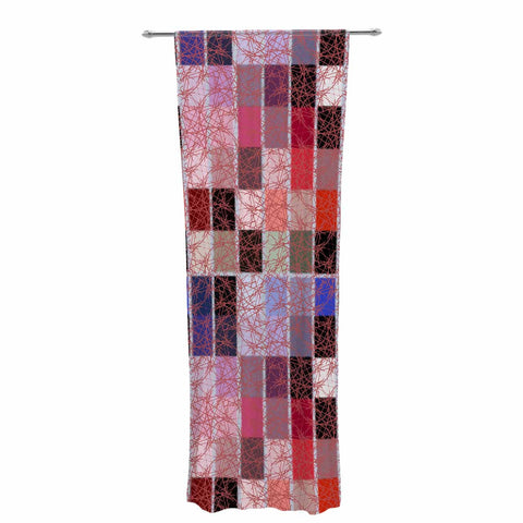"Laura Nicholson ""Ruby Tiles"" Pink Red Decorative Sheer Curtain - KESS InHouse  - 1"