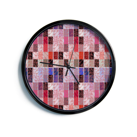 "Laura Nicholson ""Ruby Tiles"" Pink Red Modern Wall Clock"