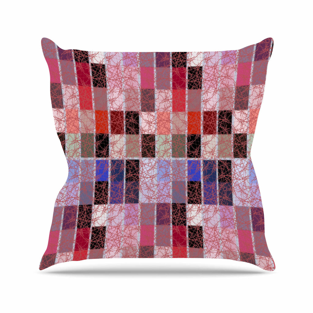 "Laura Nicholson ""Ruby Tiles"" Pink Red Outdoor Throw Pillow - KESS InHouse  - 1"