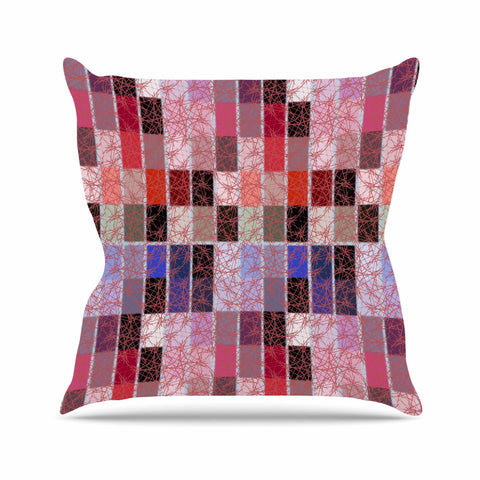 "Laura Nicholson ""Ruby Tiles"" Pink Red Throw Pillow - KESS InHouse  - 1"